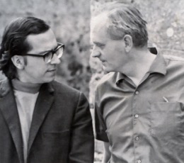 Stephen Dodgson (right) with John Williams (left) for whom he wrote Concerto No. 2