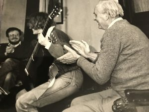 Stephen Dodgson working with guitarists at the Prussia Cove (Penzance) International Guitar Seminar circa 1985