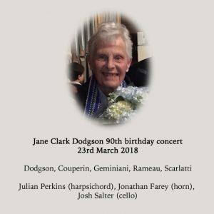 Jane Clark Dodgson 90 birthday concert